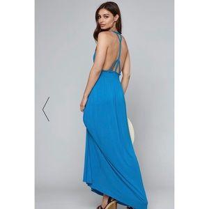 Bebe Braidded Maxi Dress Methyl Blue Size 8